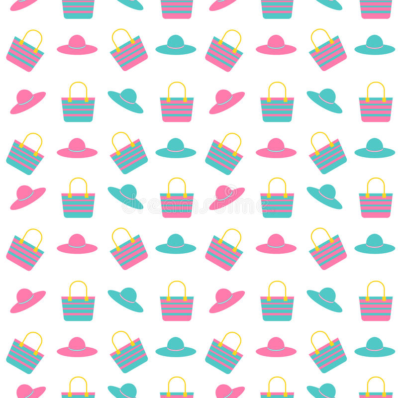 Girl bag and hat seamless pattern vector illustration