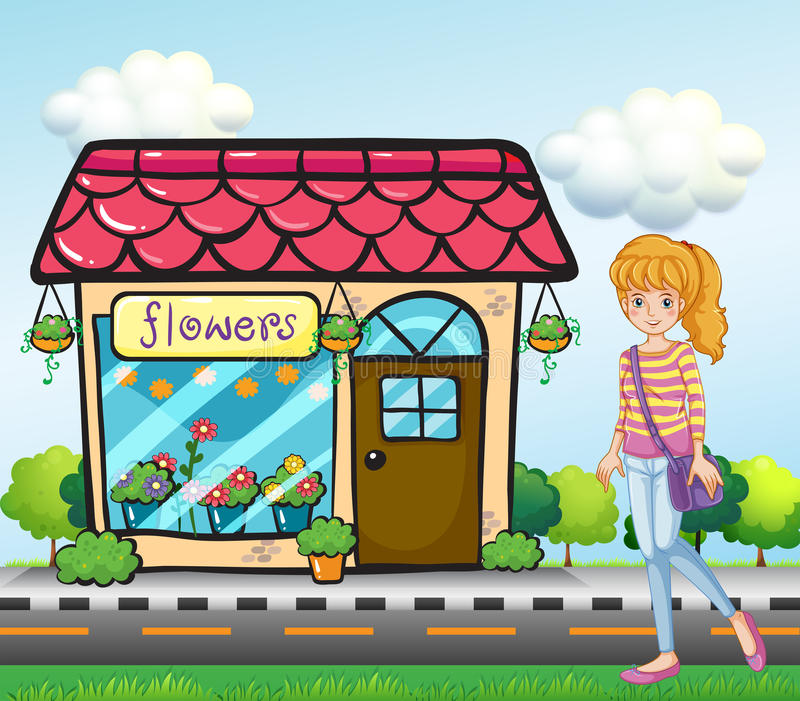 A girl with a bag outside the flower shop