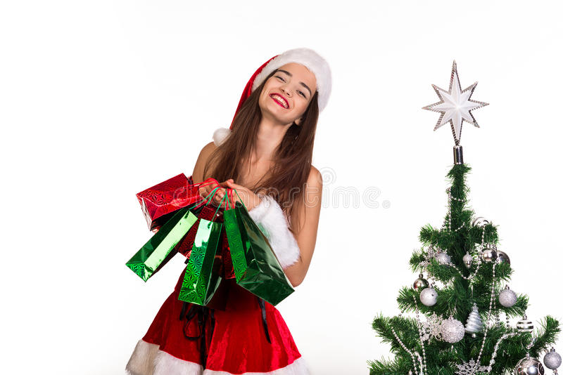 Girl with bags in hands stock image