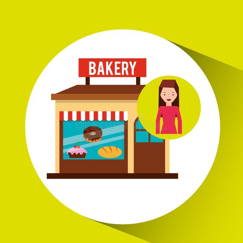 Girl bakery shopping gift buying vector illustration