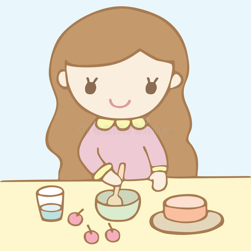 Girl Baking A Cake Stock Vector Image Of Cherry