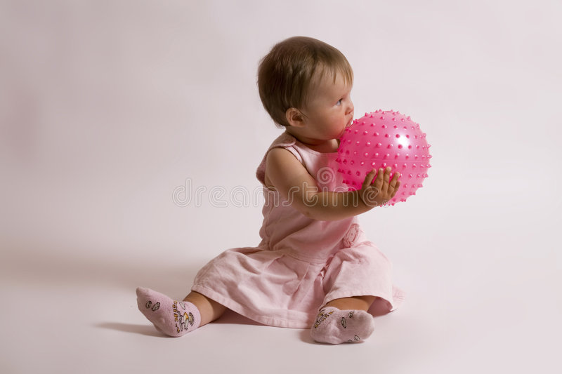 Girl and ball stock photo