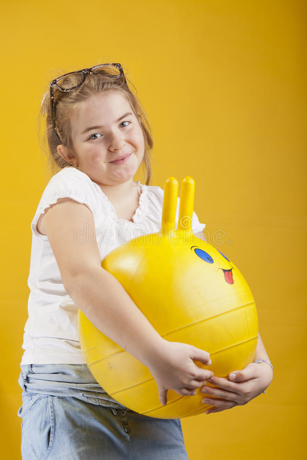 Download Girl with a ball stock photo. Image of hair, scared, face - 28898104