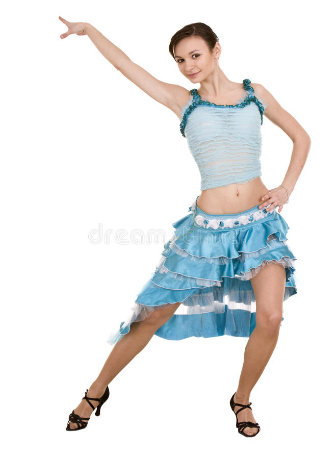 Girl in ball blue dress. royalty free stock photos