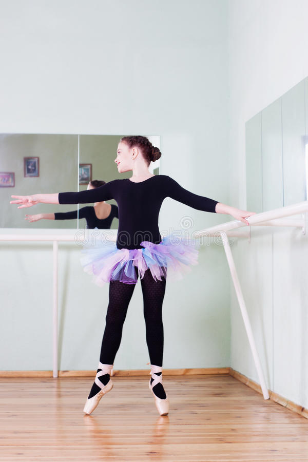 Girl at the ballet class royalty free stock images