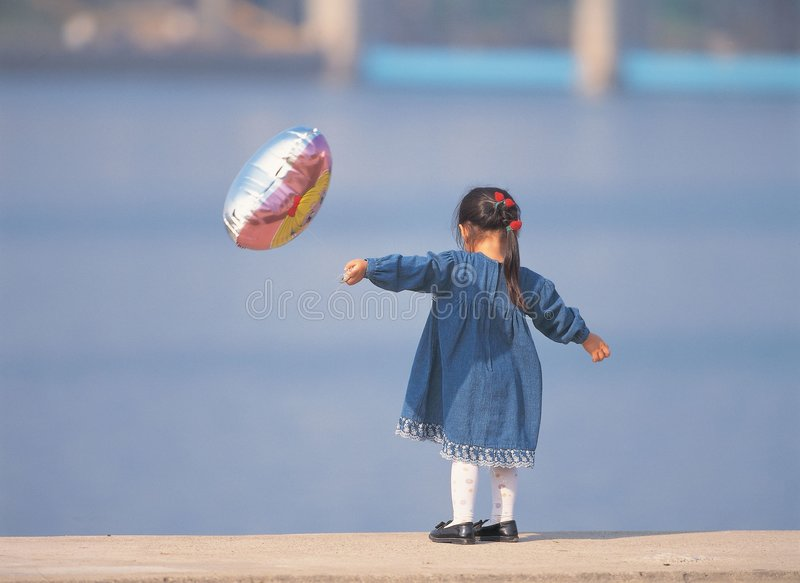Download Girl with Ballon stock image. Image of shoes, blue, skirt - 943571