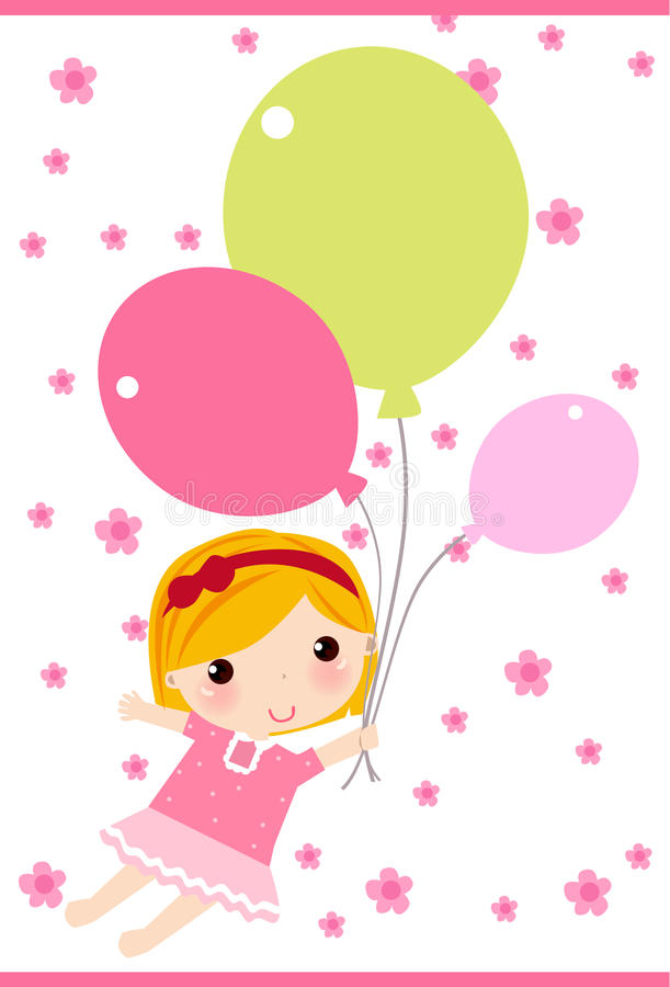Download Girl with balloon stock vector. Illustration of birthday - 10934347