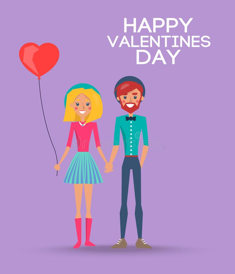Girl with Balloon and Boy on Happy Valentines Day vector illustration