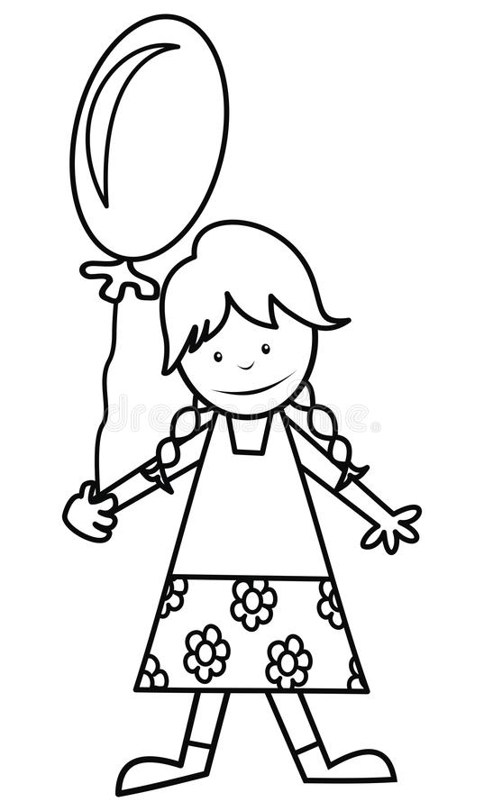 Girl and balloon, coloring royalty free illustration