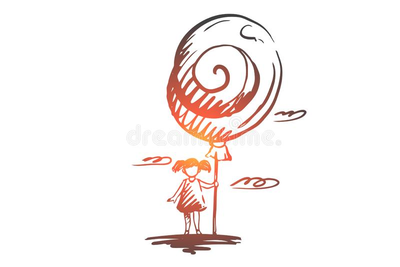 Girl, balloon, happy, childhood, child concept. Hand drawn isolated vector. stock illustration