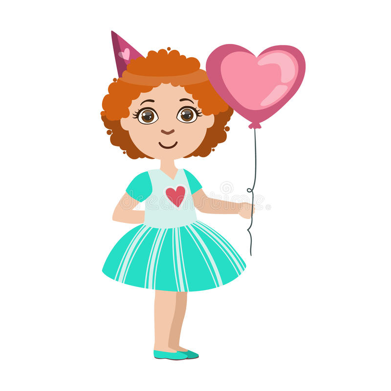 Girl With The Balloon, Part Of Kids At The Birthday Party Set Of Cute Cartoon Characters With Celebration Attributes stock illustration