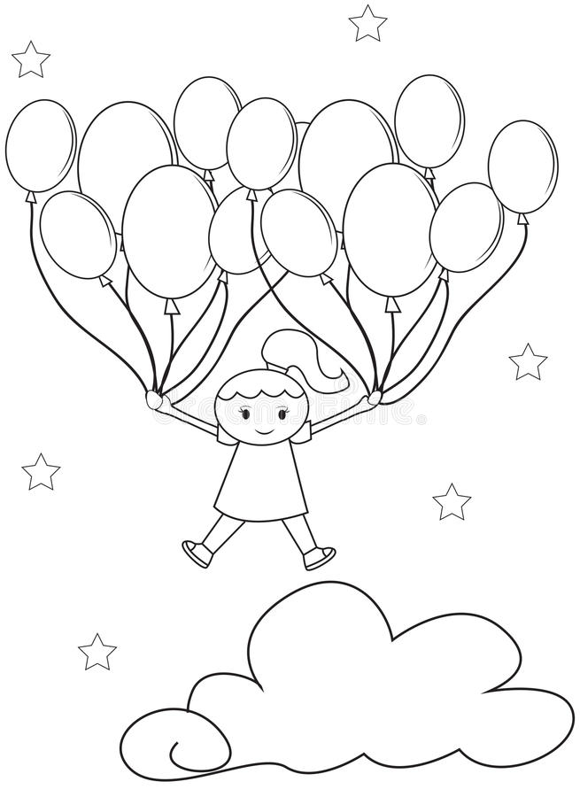Girl With Balloons Coloring Page Stock Illustration