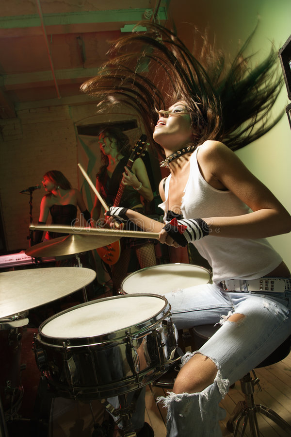 Download Girl band. stock image. Image of female, color, singing - 2768799