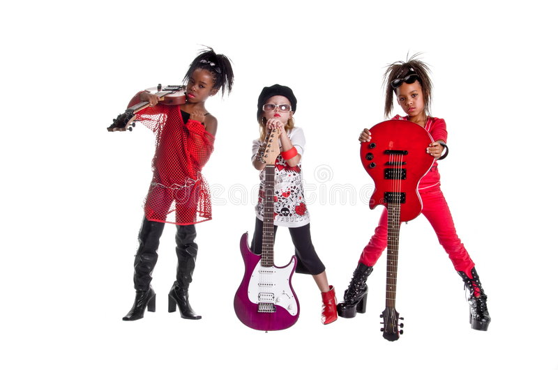 Girl Band. Multi ethnic group of young girls playing Girl band dress up stock photos