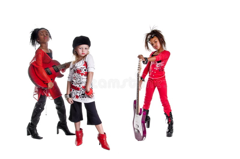 Girl Band. Multi ethnic group of young girls playing Girl band dress up royalty free stock images