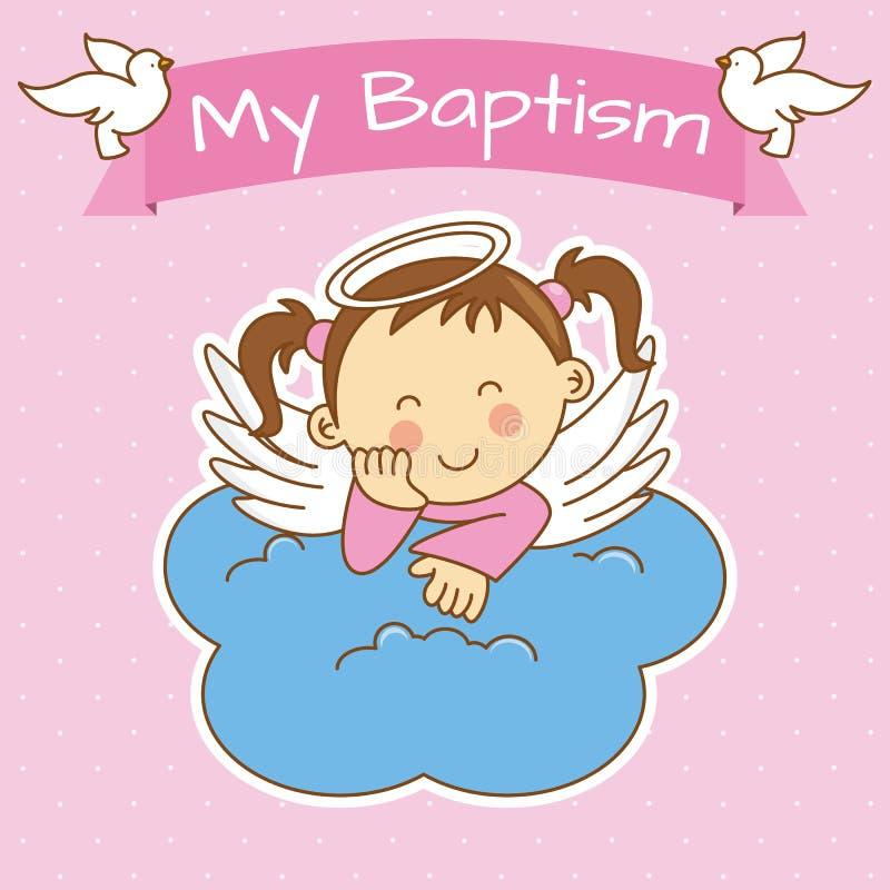 Girl baptism. Angel wings on a cloud. girl baptism stock illustration