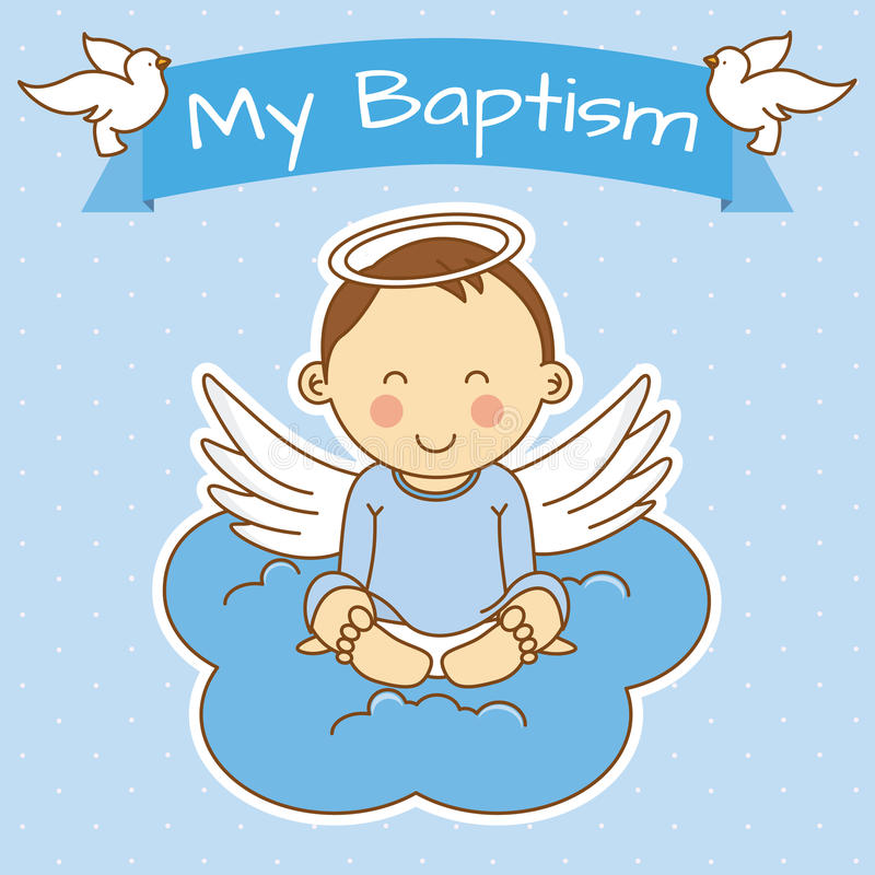 Girl baptism. Angel wings on a cloud. boy baptism royalty free illustration