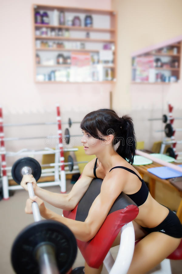 Download Girl with barbell stock image. Image of body, health - 26114681