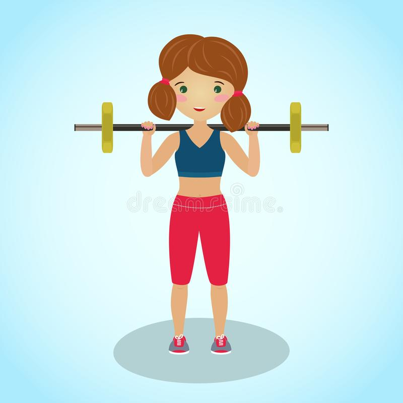 Girl with a barbell. Cartoon character. Workout. stock illustration