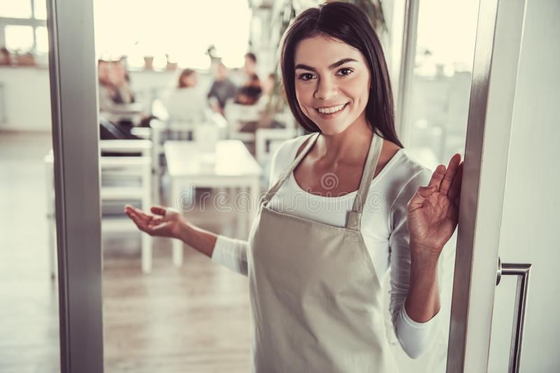Girl barista cafe royalty free stock images