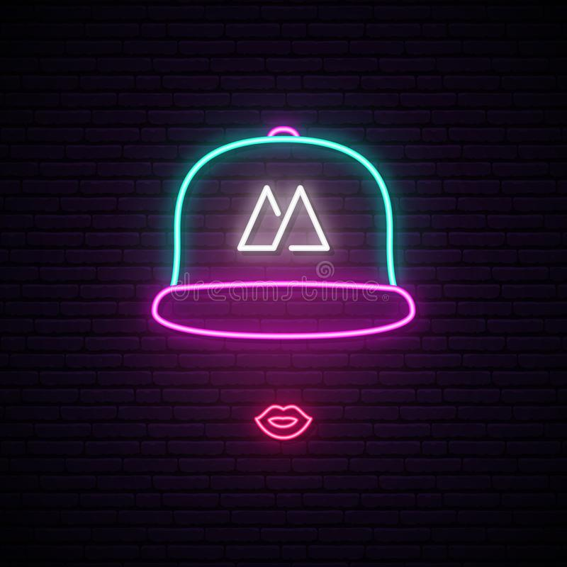 Girl with baseball cap neon sign. royalty free illustration