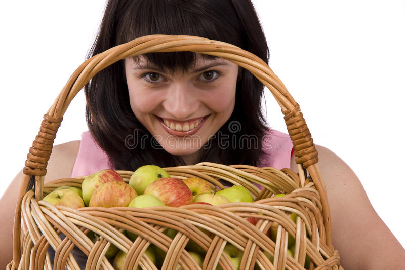 Download Girl With A Basket Of Apples Stock Image - Image: 10701869