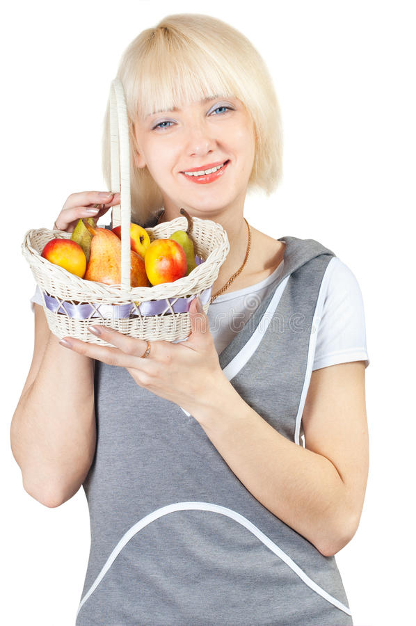 Download Girl With A Basket Of Fruit Stock Photo - Image of likeness, peaches: 19345114