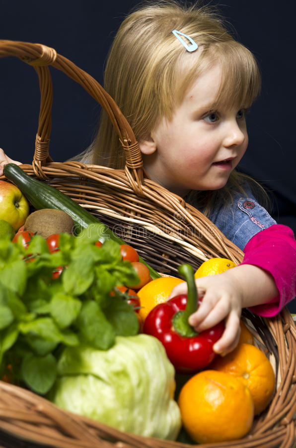 Download Girl With Basket Of Ripe Fruit Stock Image - Image: 31077005