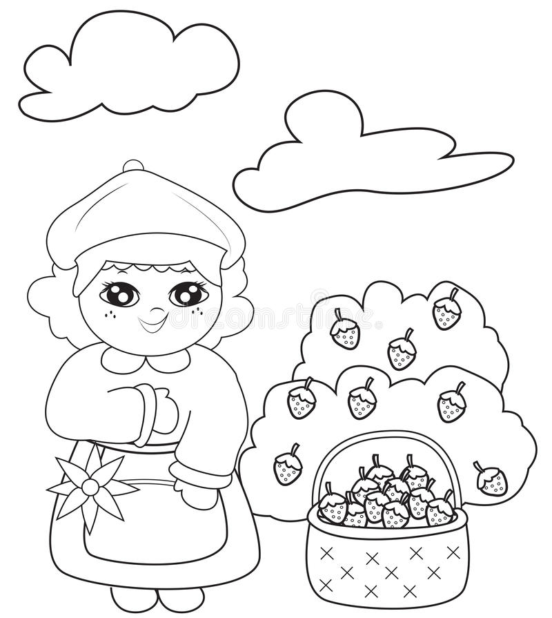Girl With A Basket Of Strawberries Coloring Page Stock Illustration ...