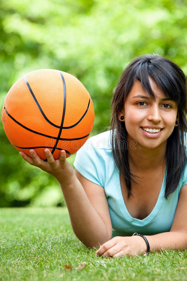 Download Girl with a basketball stock image. Image of people, game - 9971893