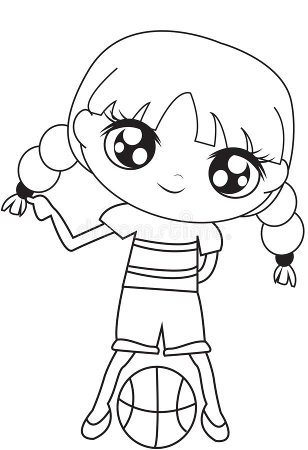 Girl With A Basketball Coloring Page Stock Illustration ...