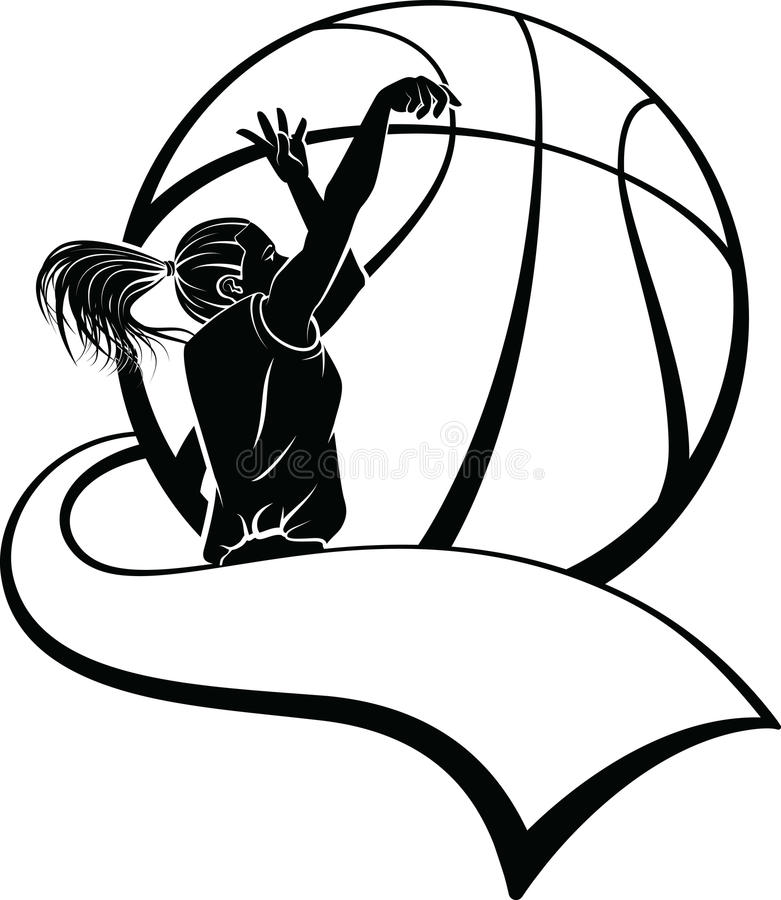 Download Girl Basketball Shooter With Pennant Stock Image - Image: 25067655