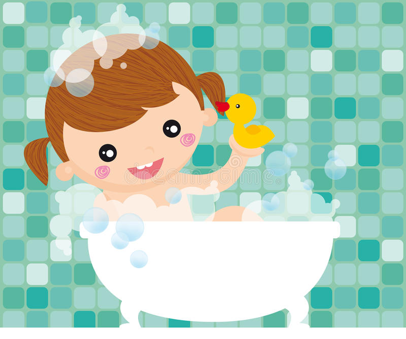 Girl in bath. Little girl with duck having bath