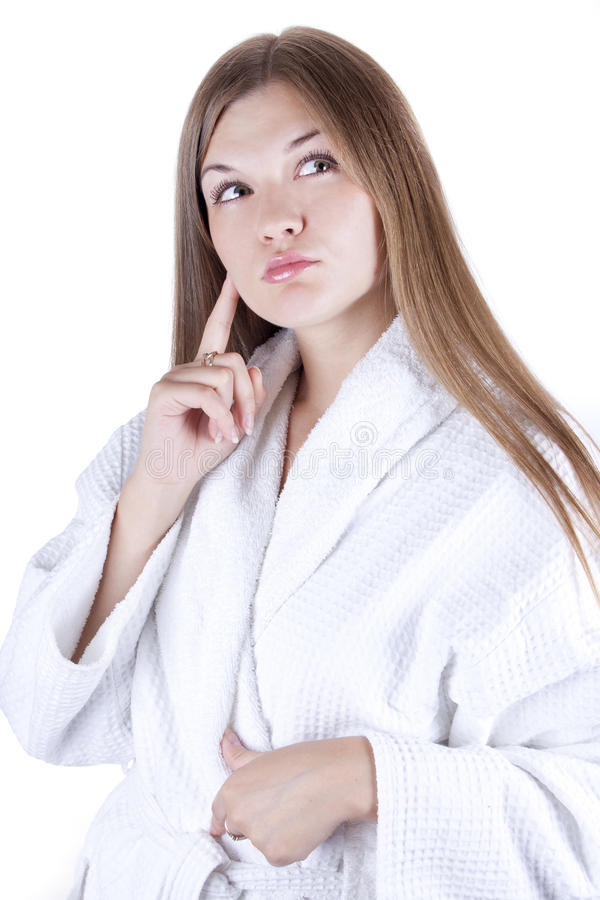 Download Girl in a bathrobe stock photo. Image of pampering, bath - 20926564