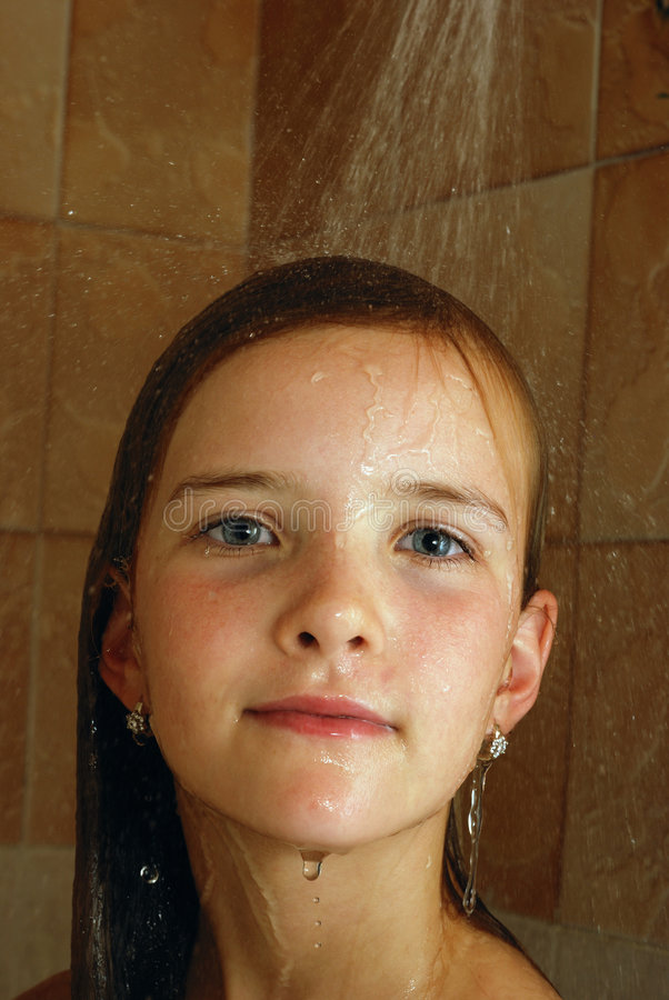 Girl In The Bathroom Royalty Free Stock Photo
