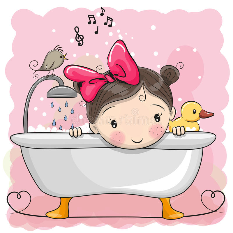 Girl in the bathroom. Cute cartoon Girl in the bathroom stock illustration