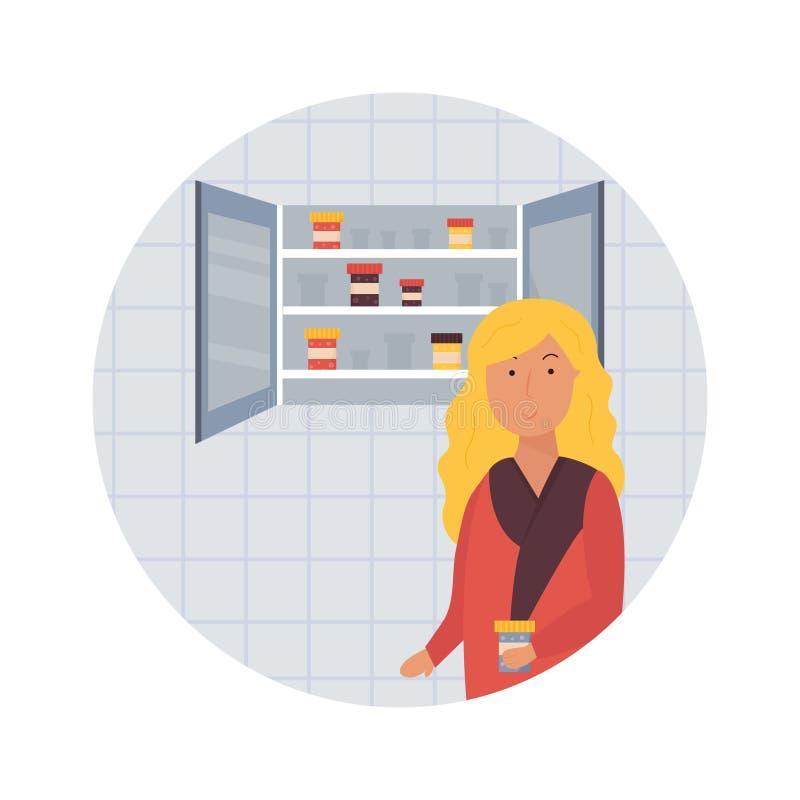 Girl in a bathroom taking medicine, pills. stock illustration