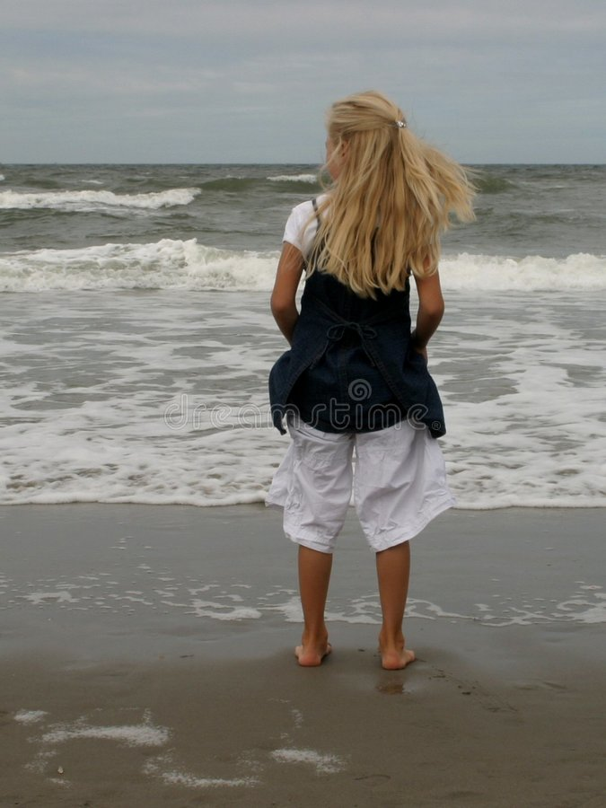 Download Girl on beach stock photo. Image of waves, netherlands, oceans - 11952