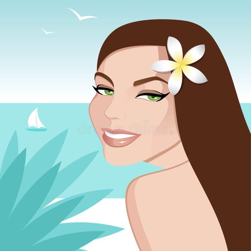 Girl on the beach stock illustration