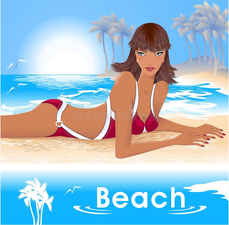 Download Girl on Beach stock vector. Illustration of girl, happiness - 25251521