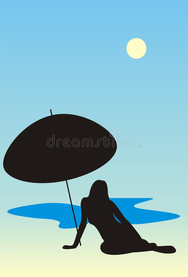 Girl on a beach vector illustration