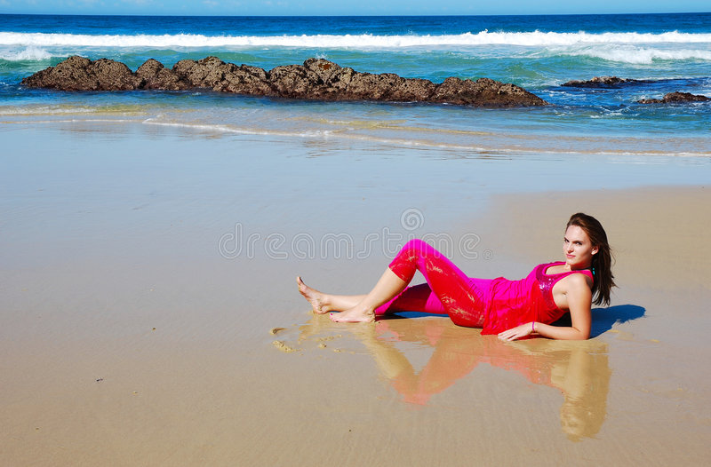 Download Girl on beach stock photo. Image of lazy, beach, dressed - 4858758