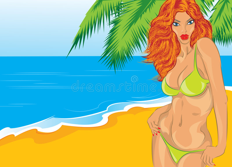 Download A girl on a beach stock illustration. Image of beauty - 8285688