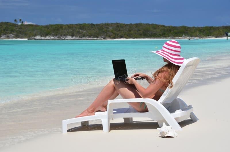 Girl on the beach of Exuma, Bahamas. Girl on the beach of Great Exuma, Bahamas stock photo