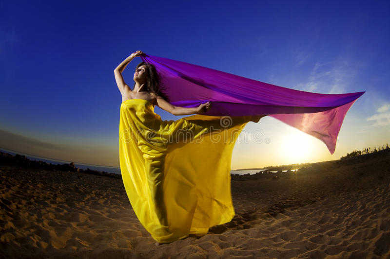 Girl at the beach growing tissue. The image of a beautiful girl at the beach growing tissue on a background of the sun stock photography