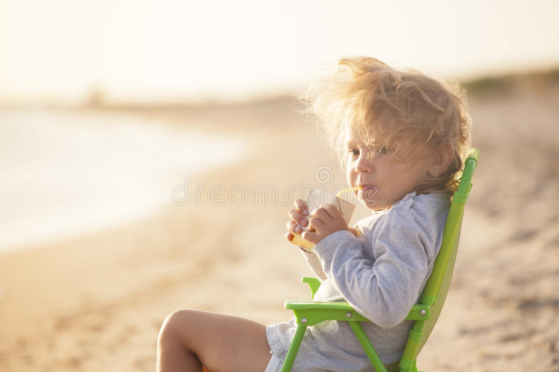 Girl on the beach stock images