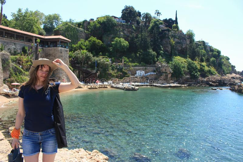 Girl on the beach, travel, landscapes of Antalya royalty free stock photos