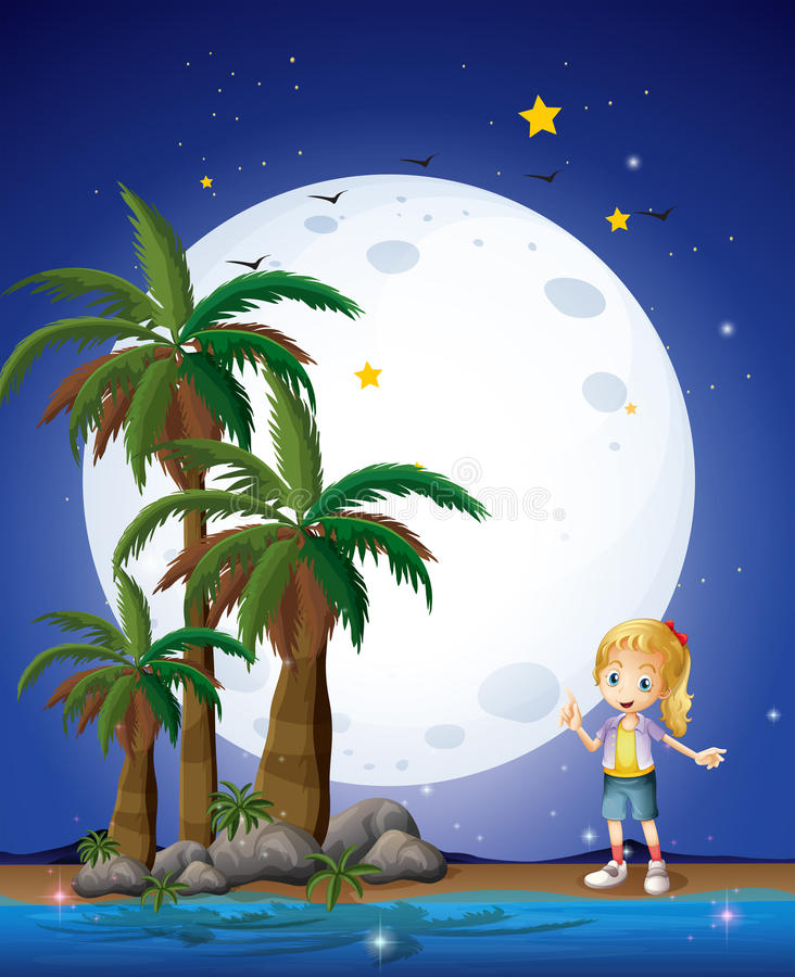 Download A Girl At The Beach Under The Bright Fullmoon Stock Vector - Image: 32941752