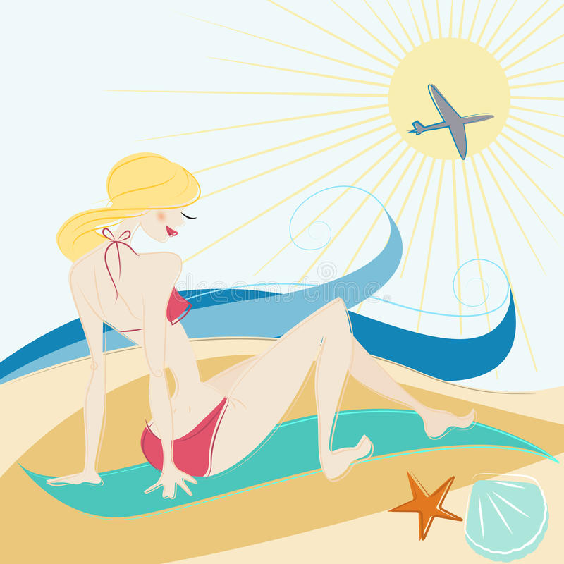 Girl on the beach vector royalty free illustration
