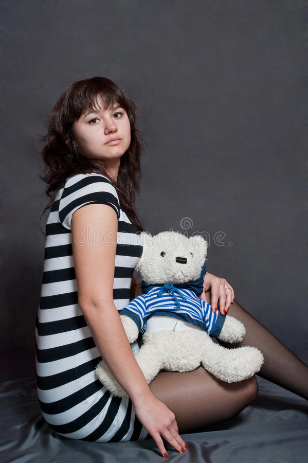 Download Girl with bear stock photo. Image of people, eyes, beauty - 12456454